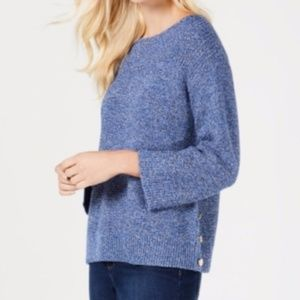 Charter Club side button Boat-Neck knit sweater